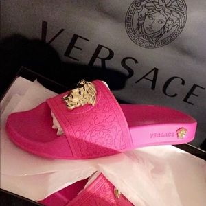 Versace pink with gold medusa head slides size 8